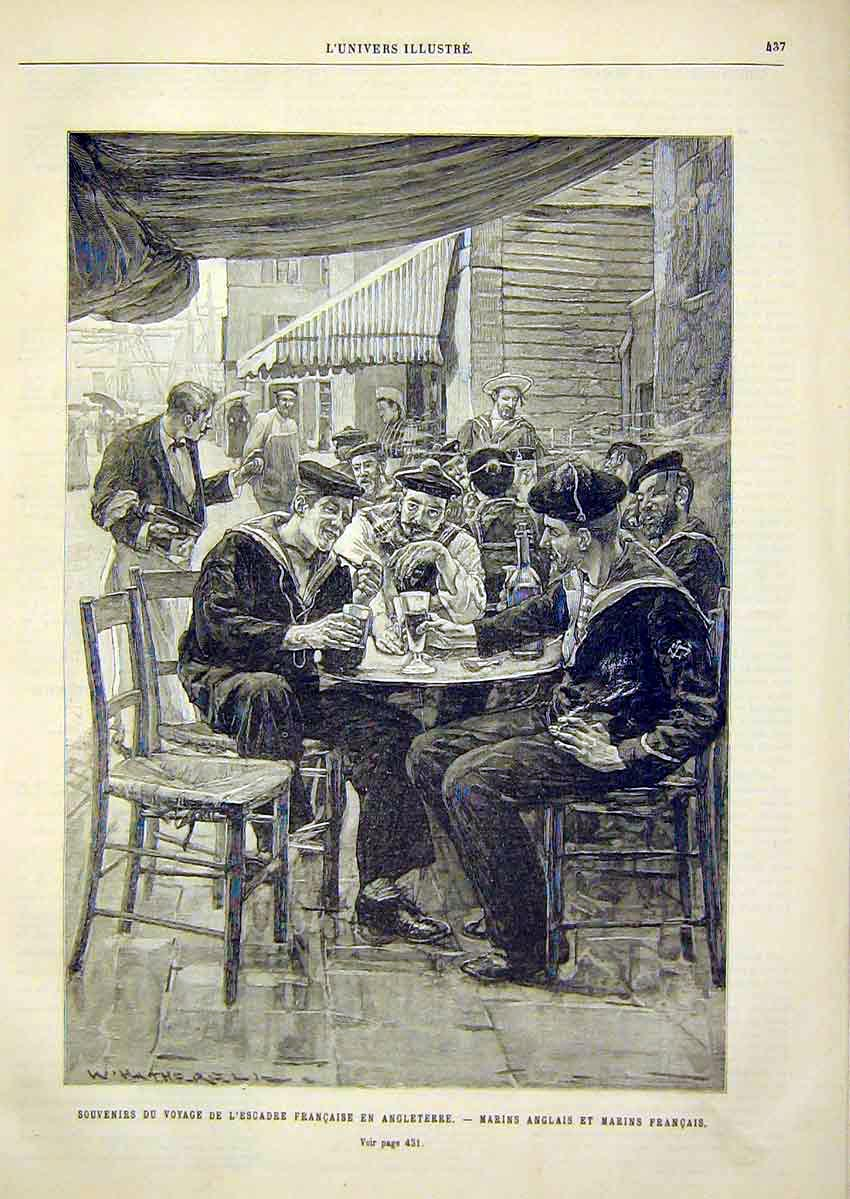Print French Sailors English Marines French 1891 37Lun1 Old Original