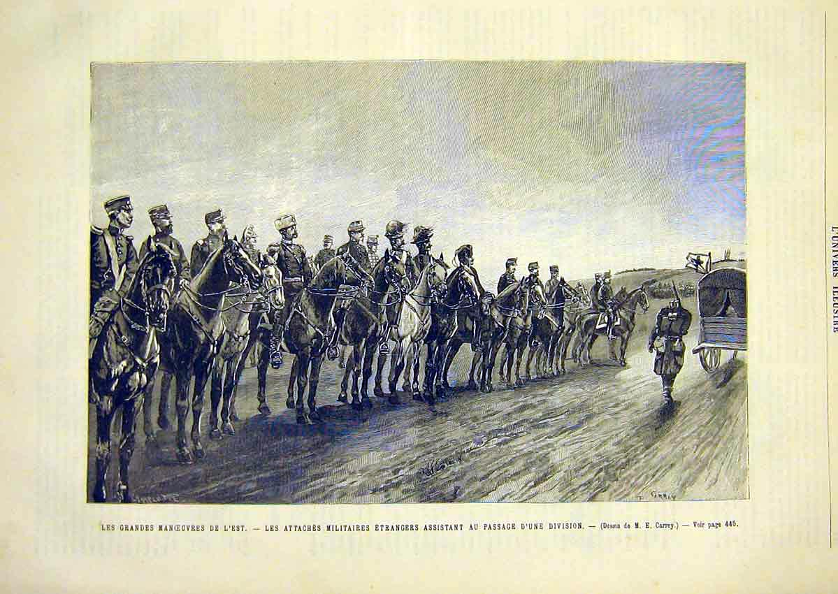 Print Military Manoeuvres Troops Soldiers French 1891 47Lun1 Old Original
