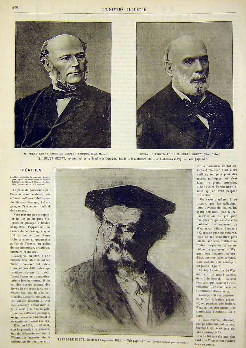 Print Portrait French Republic Ribot Grevy 1891 56Lun1 Old Original