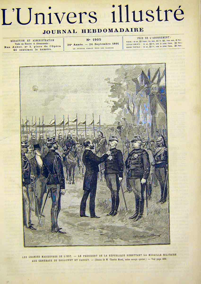 Print Military Manoeuvres Medal Gallifet Davout 1891 66Lun1 Old Original