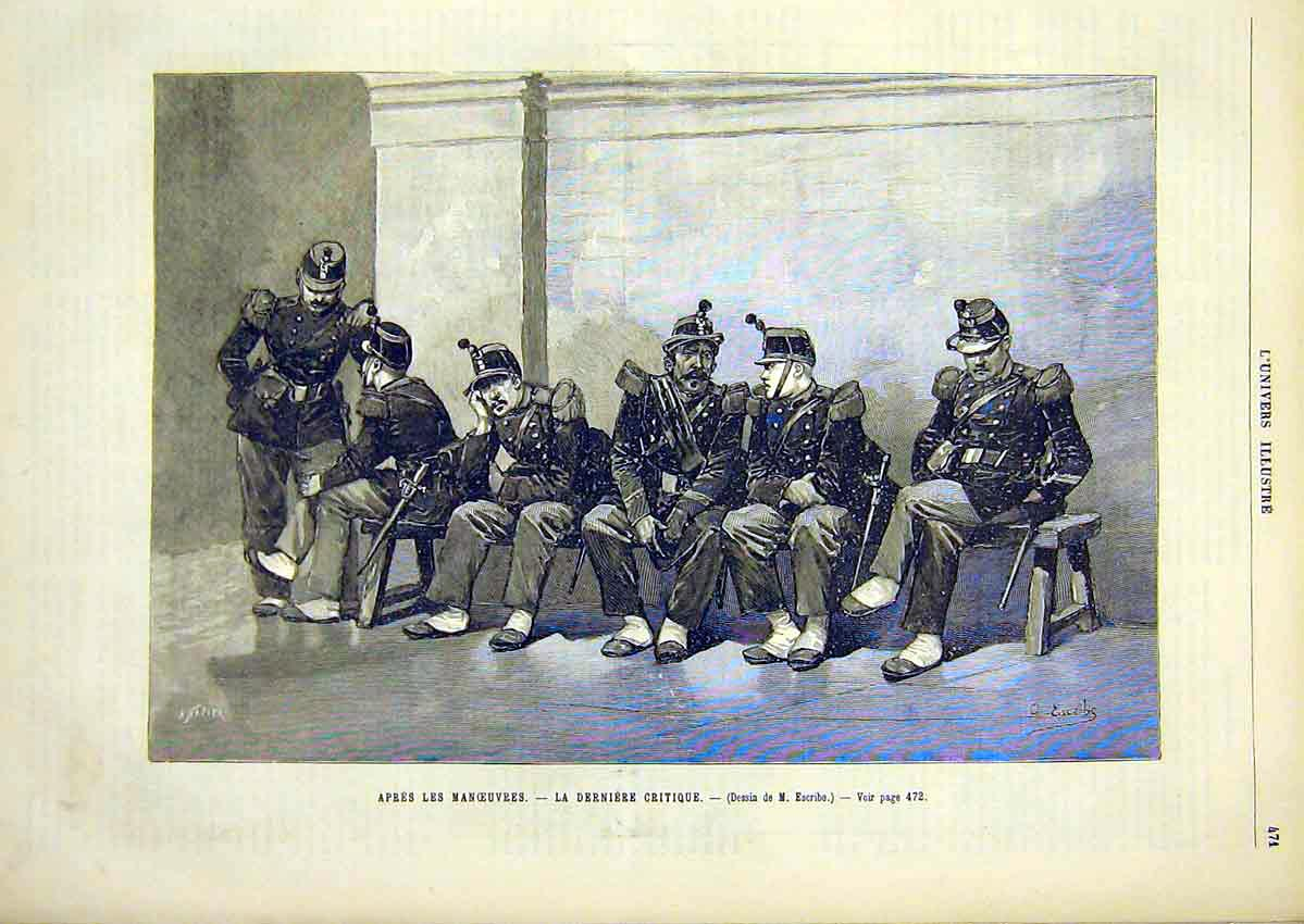 Print Military Manoeuvres Derniere Critique French 1891 71Lun1 Old Original