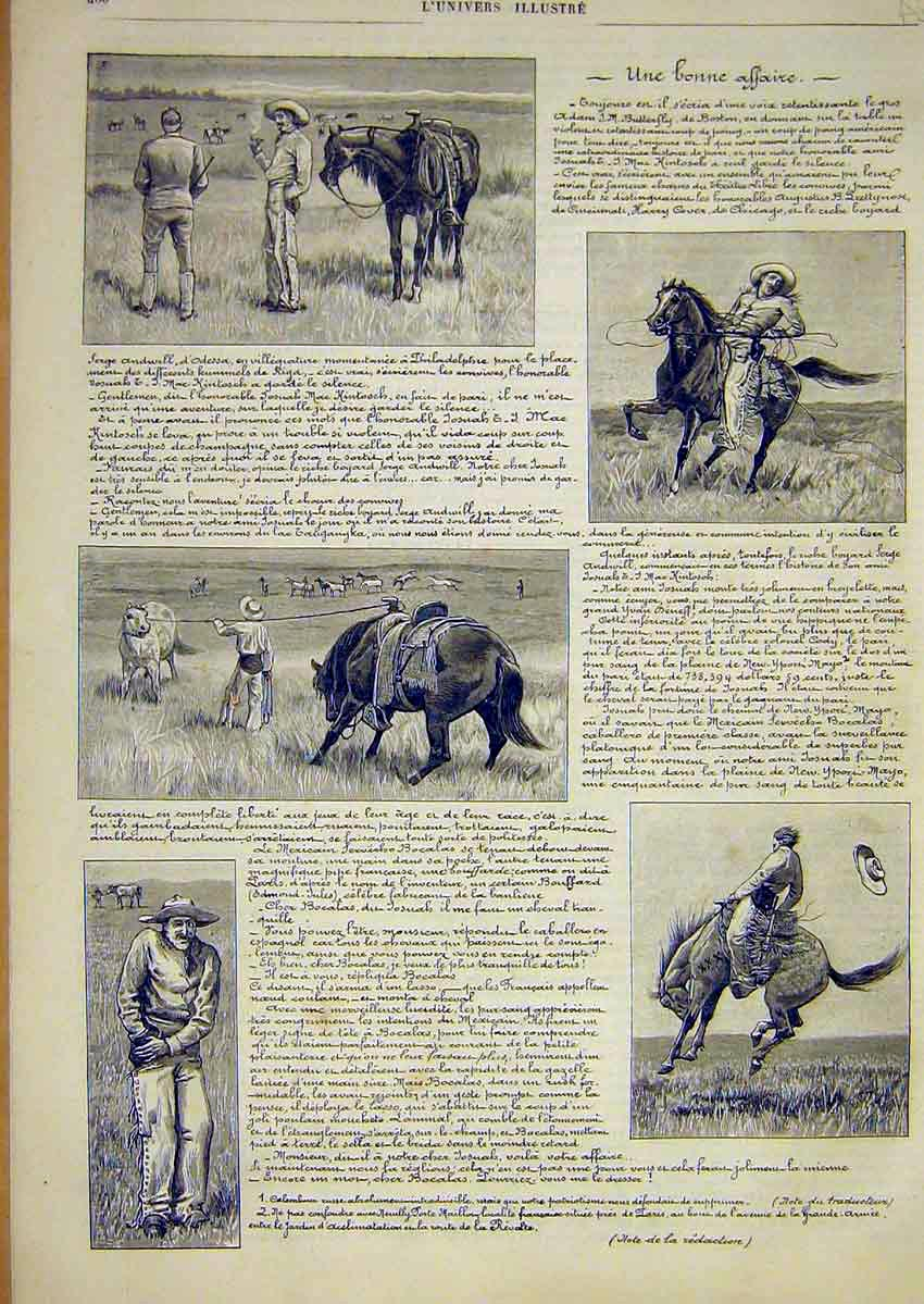 Print Cowboy Philadelphia Horse French 1891 80Alun1 Old Original
