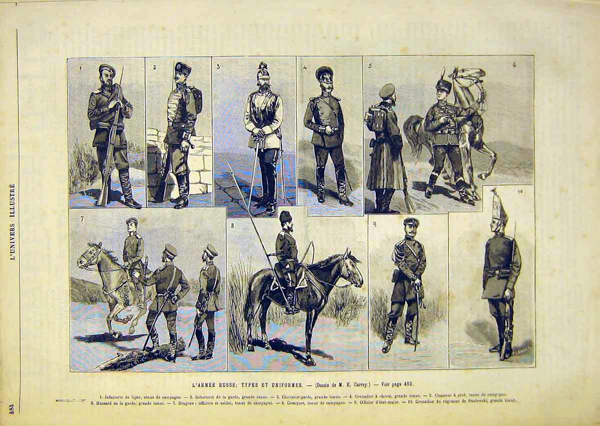 Print Russian Army Troops Uniform Military French 1891 84Lun1 Old Original
