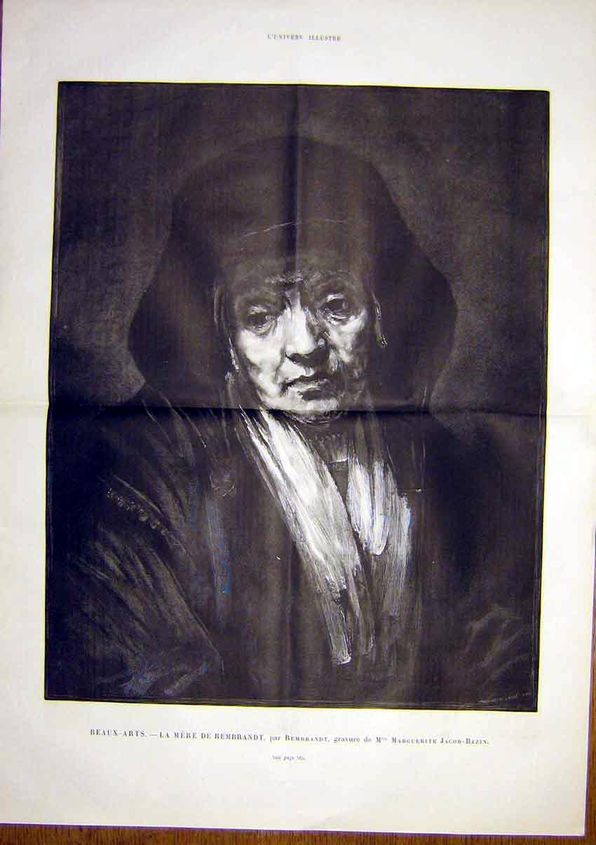 Print Rembrandt Mother Jacob-Bazin Portrait French 1891 05Tlun1 Old Original