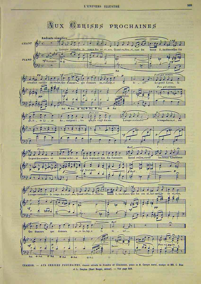 Print French Music Score Sheet Cerises Prochaines Auriol 1891 09Lun1 Old Original