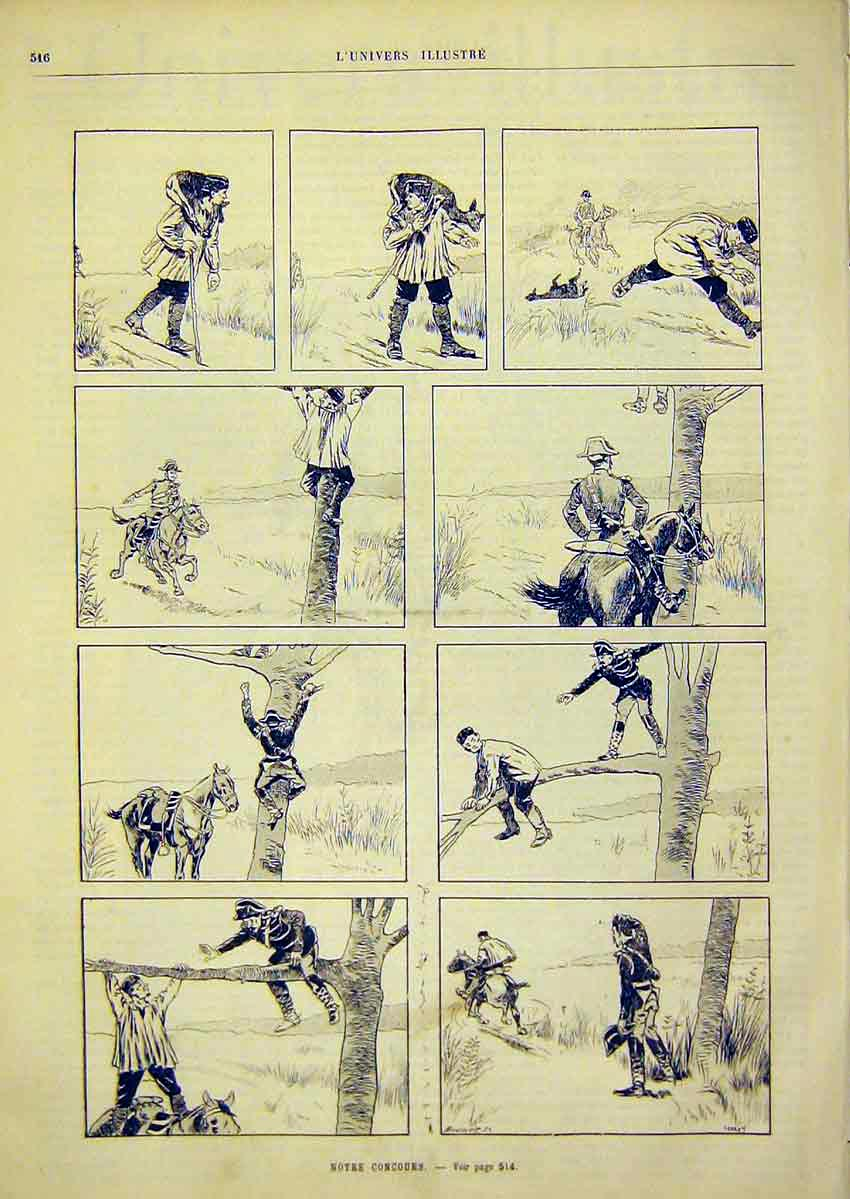Print Sketches Poacher Soldier Story French 1891 16Lun1 Old Original