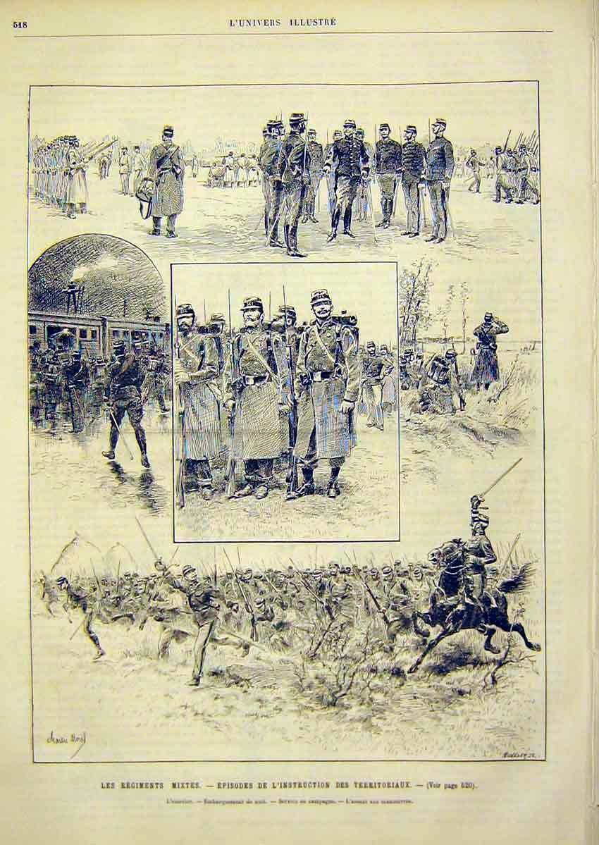 Print Regiment Military Troops Army French 1891 18Lun1 Old Original