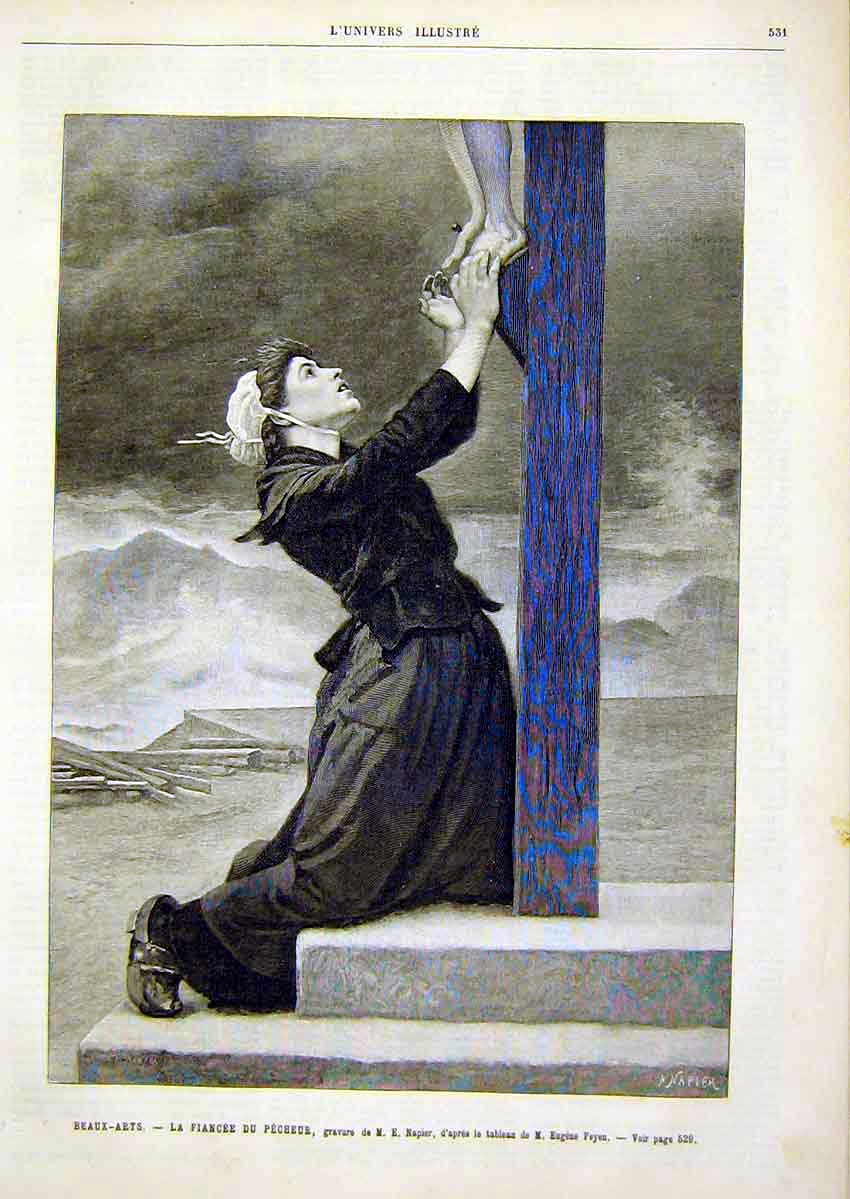 Print Fiance Pecheur Portrait Lady Crucifix French 1891 31Lun1 Old Original