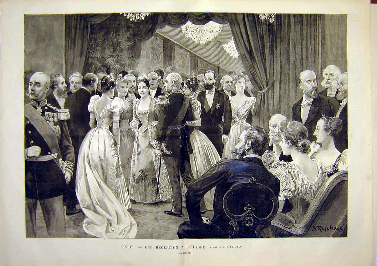 Print Pairs Elysees Rejchan Reception French 1891 41Tlun1 Old Original
