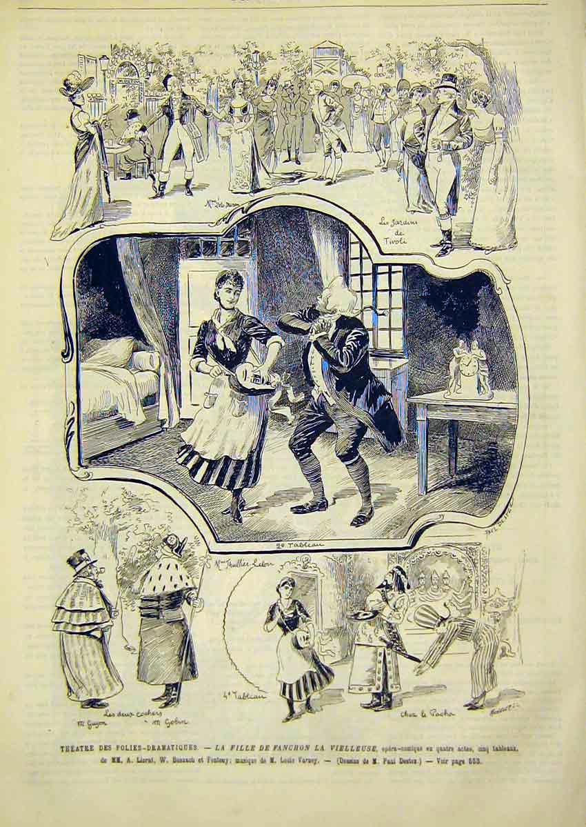 Print Theatre Liorat Busnach Varney French 1891 54Lun1 Old Original