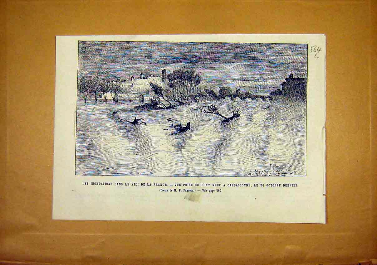 Print Floods France Carasonne Nine Bridge Pont Neuf 1891 64Llun1 Old Original