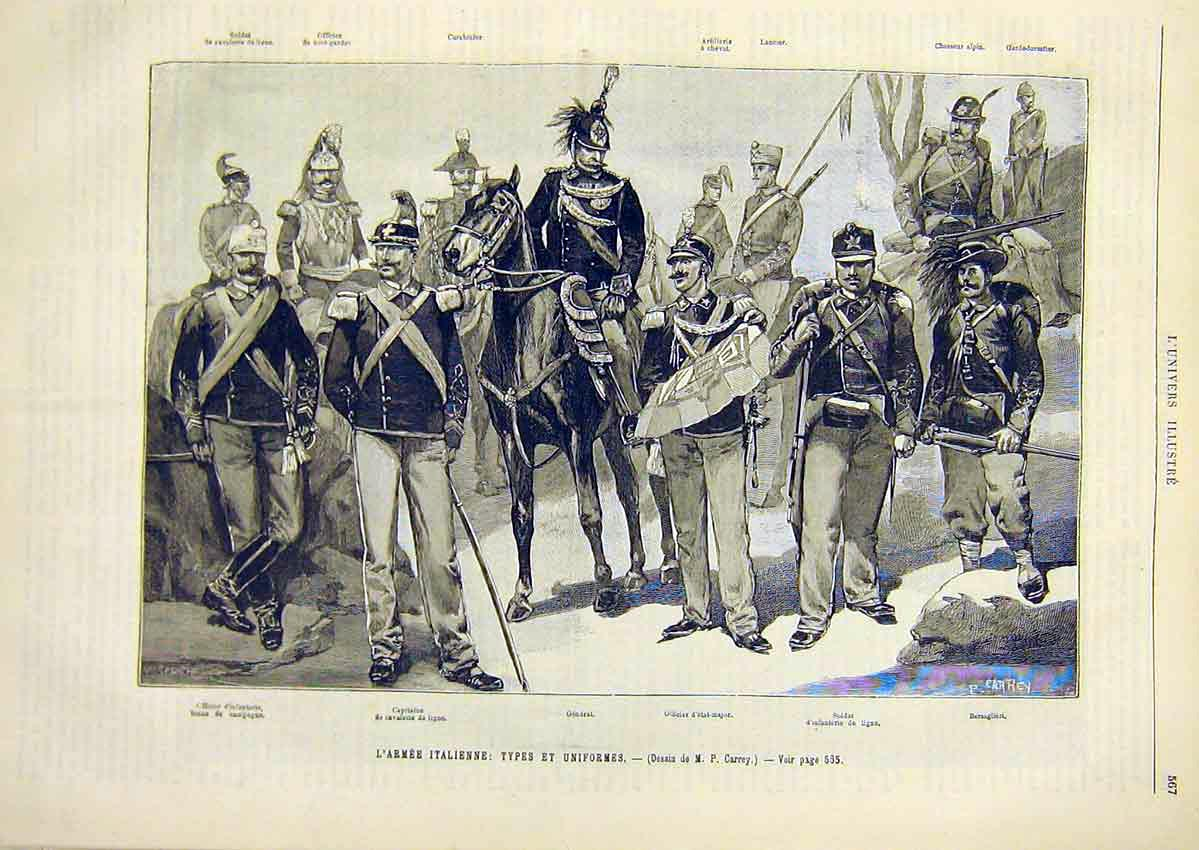 [Print Italian Army Military Uniforms French 1891 67Lun1 Old Original]