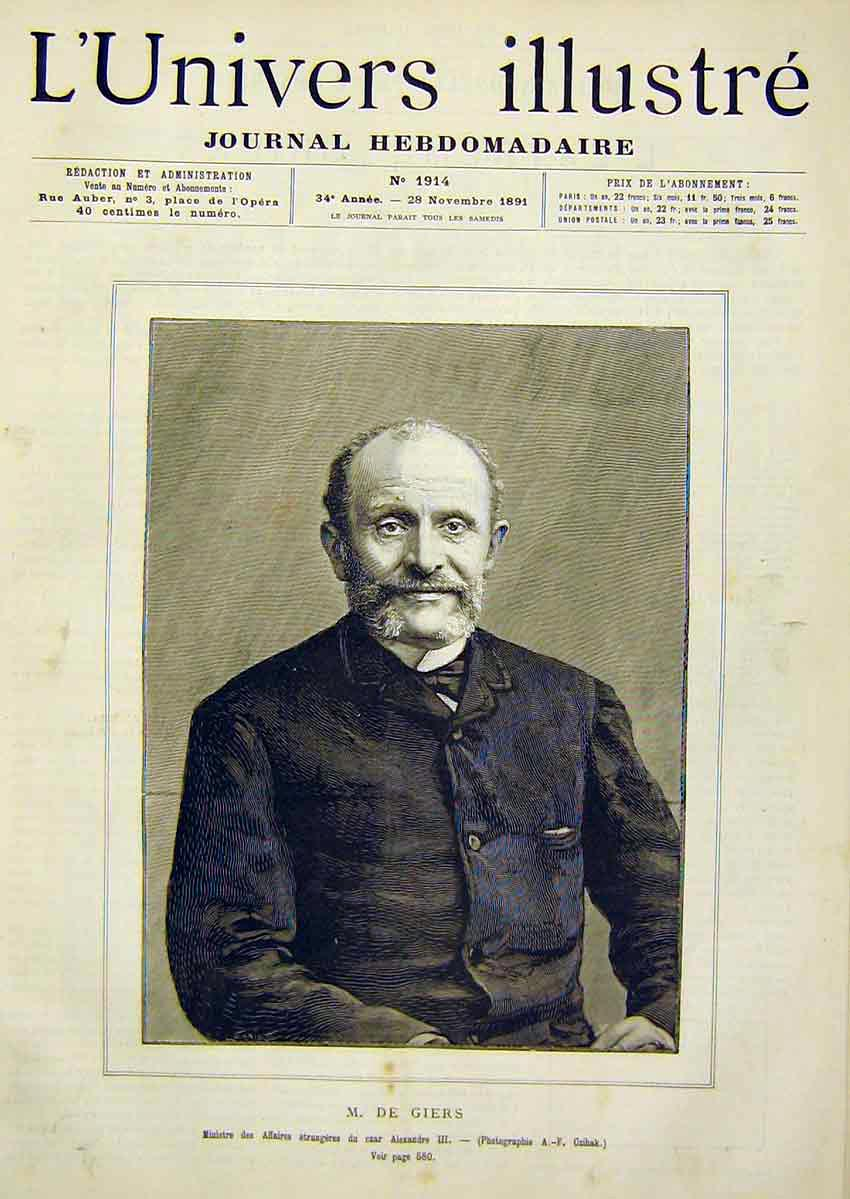 Print Portrait Giers Minister Alexandre French 1891 74Lun1 Old Original