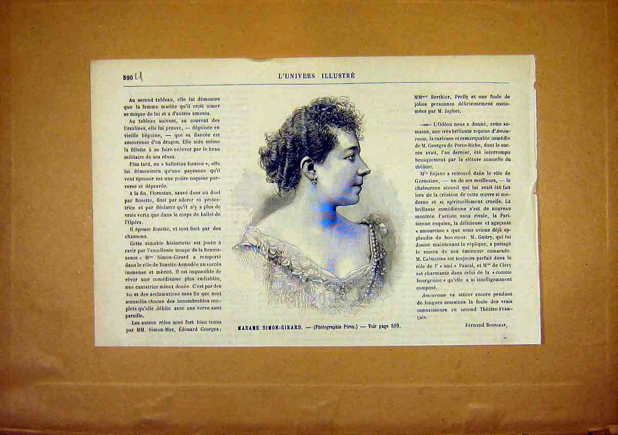 Print Portrait Simon-Girard Lady French 1891 90Ulun1 Old Original