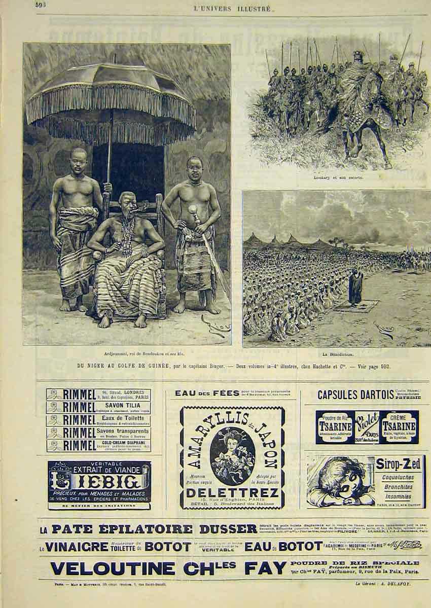 Print Niger Binger Loukary King Boudoukou Advert French 1891 96Lun1 Old Original
