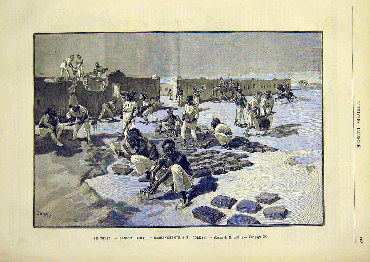 Print Construction Walls Fort Goleah Dunki French 1891 03Lun1 Old Original