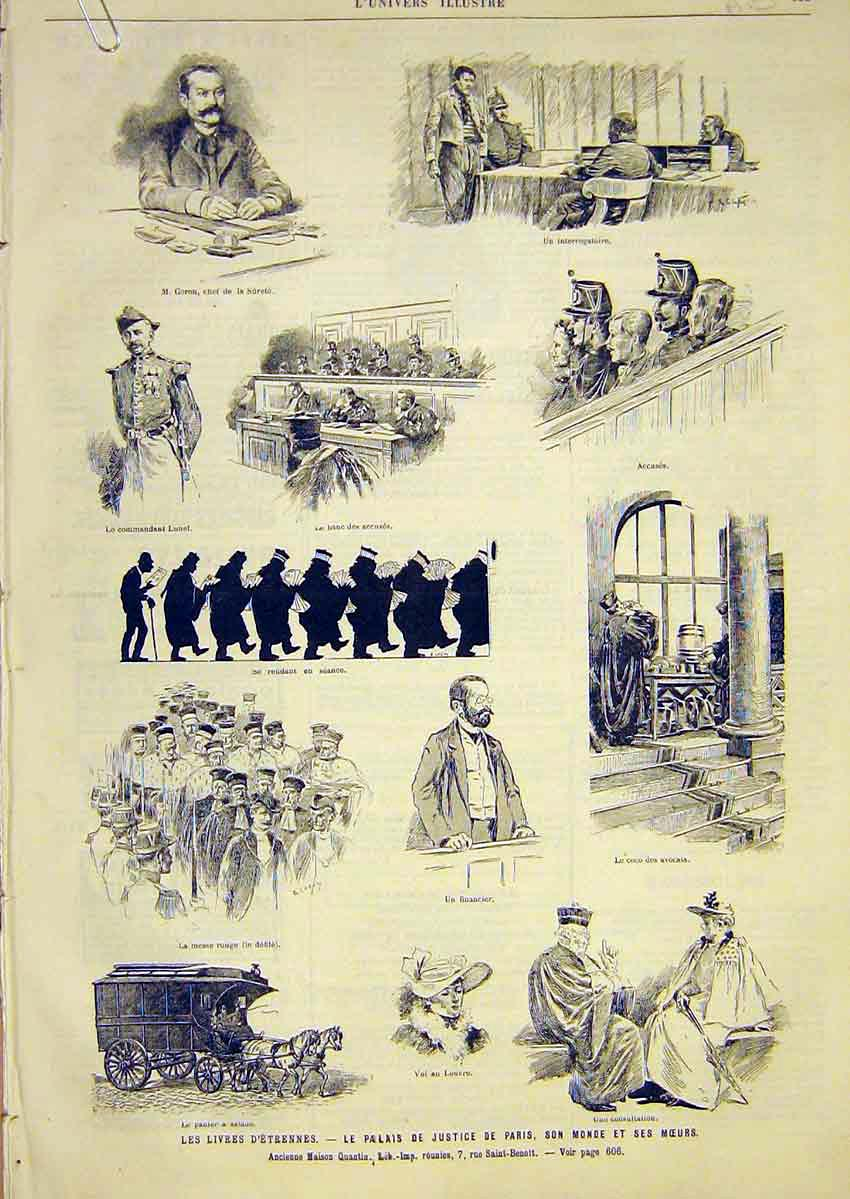 Print Etrennes Court Justice Paris France French 1891 05Alun1 Old Original