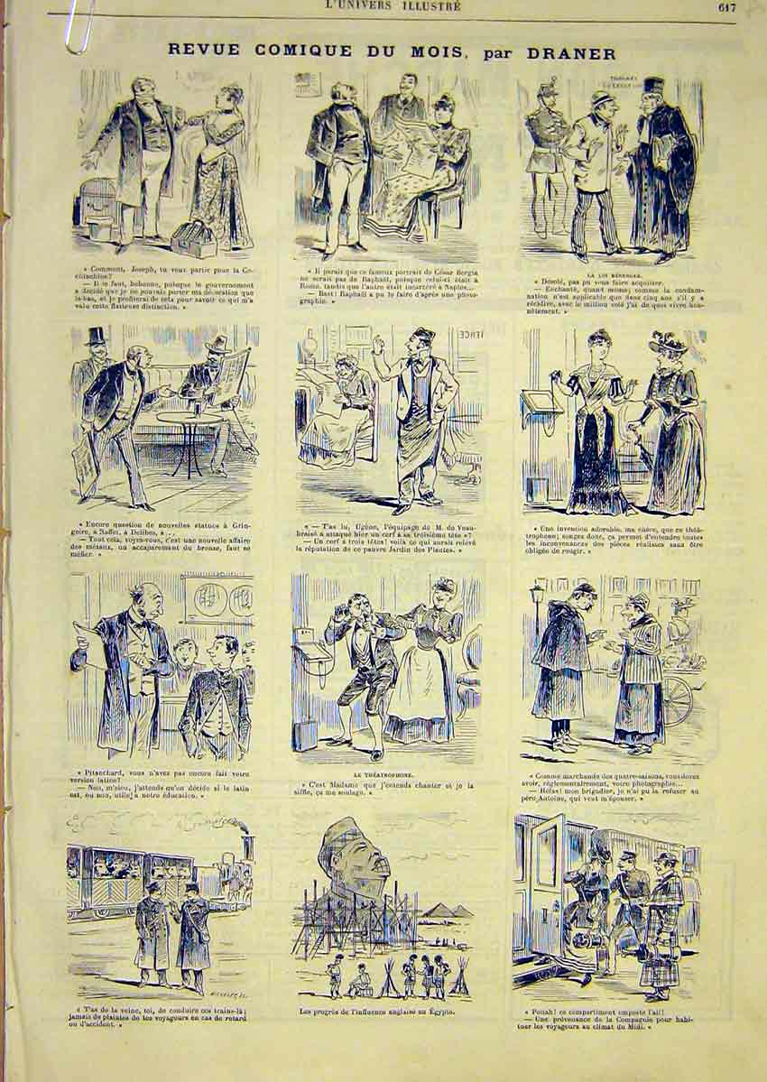Print Comic Review Sketches Draner French 1891 17Alun1 Old Original