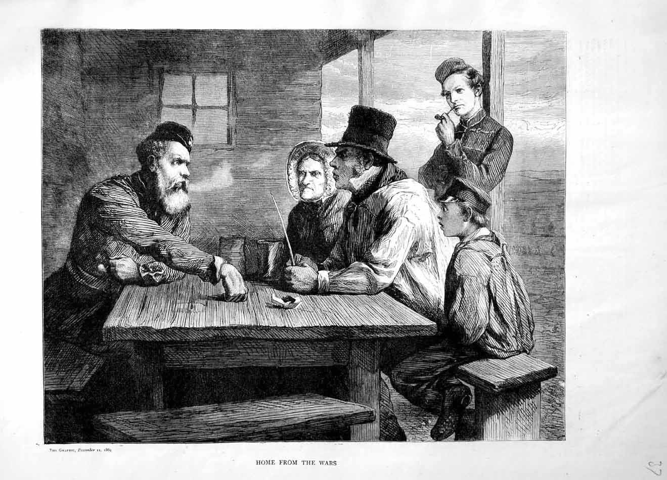 [Print 1869 Soldier Man Home War Family House People 037M101 Old Original]