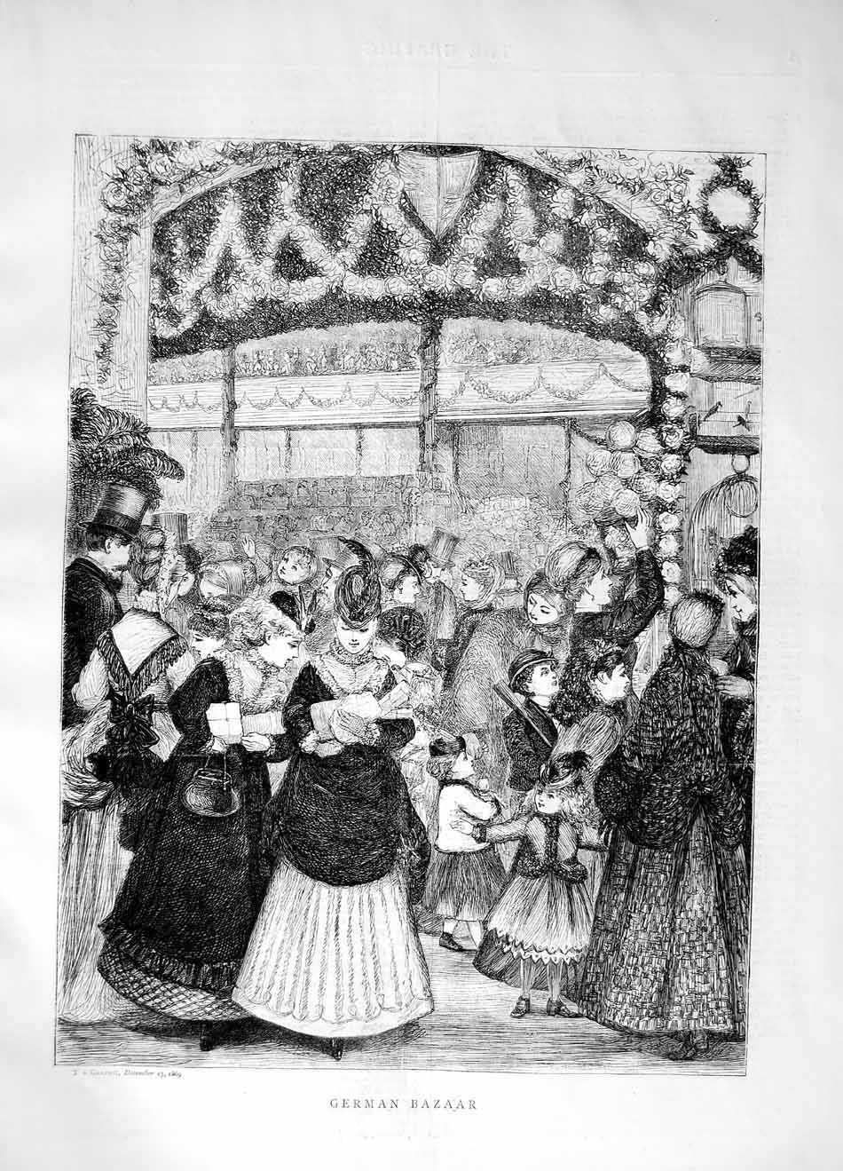 [Print 1869 German Bazaar Market Selling Shopping 077M101 Old Original]
