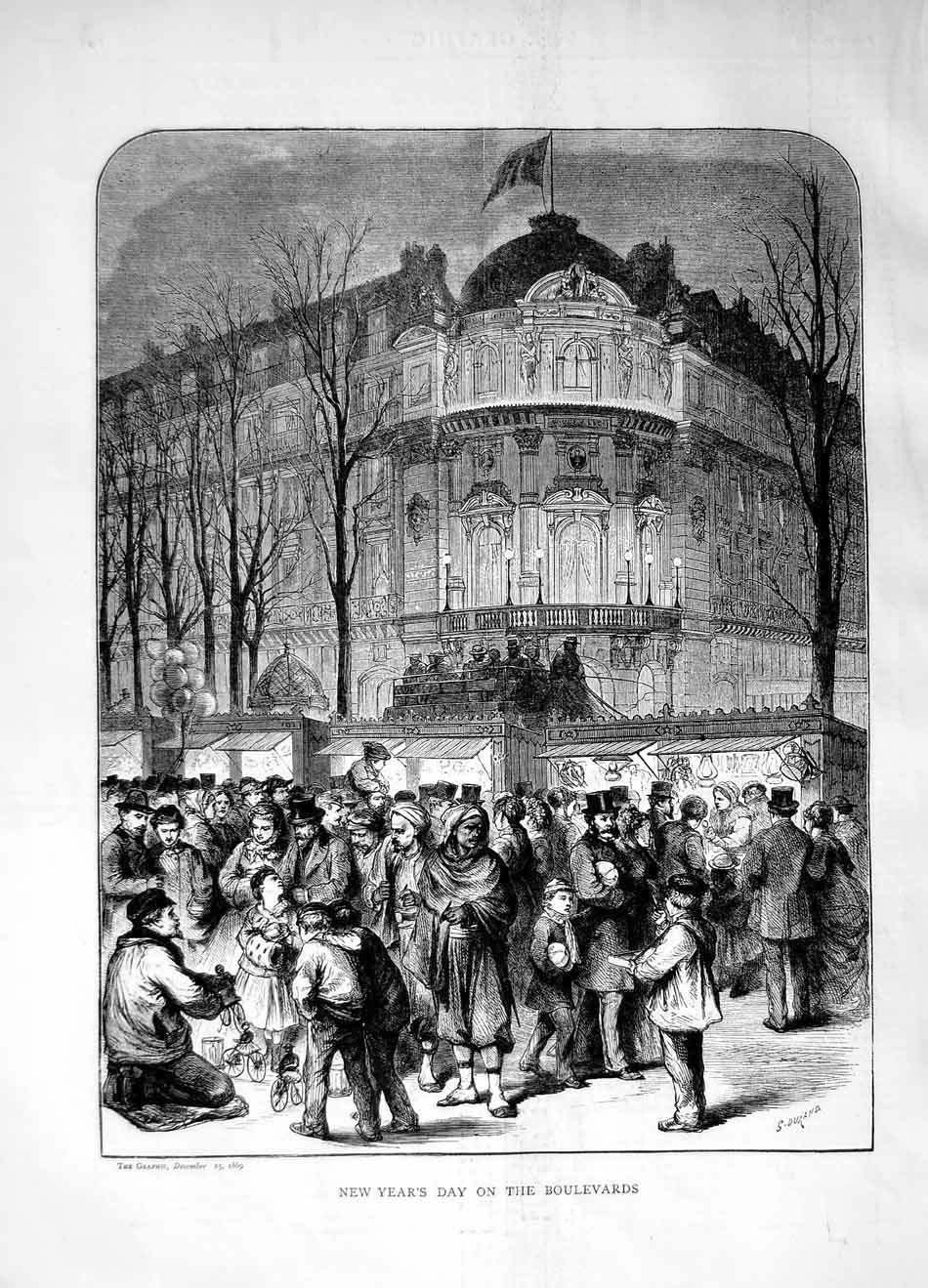 [Print 1869 New Year'S Day Boulevards Children Buildings 080M101 Old Original]