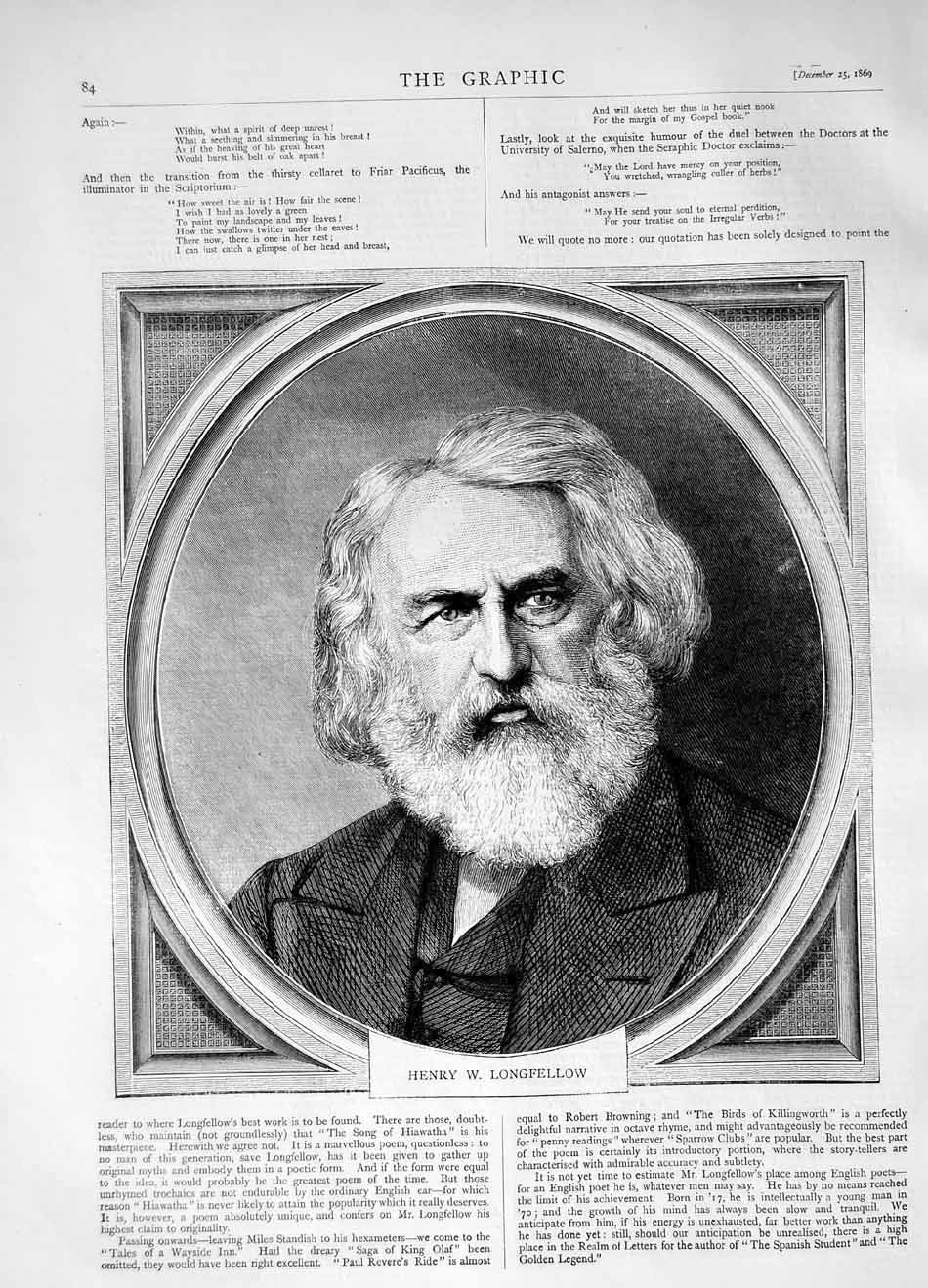 [Print 1869 Portrait Henry Longfellow 084M101 Old Original]