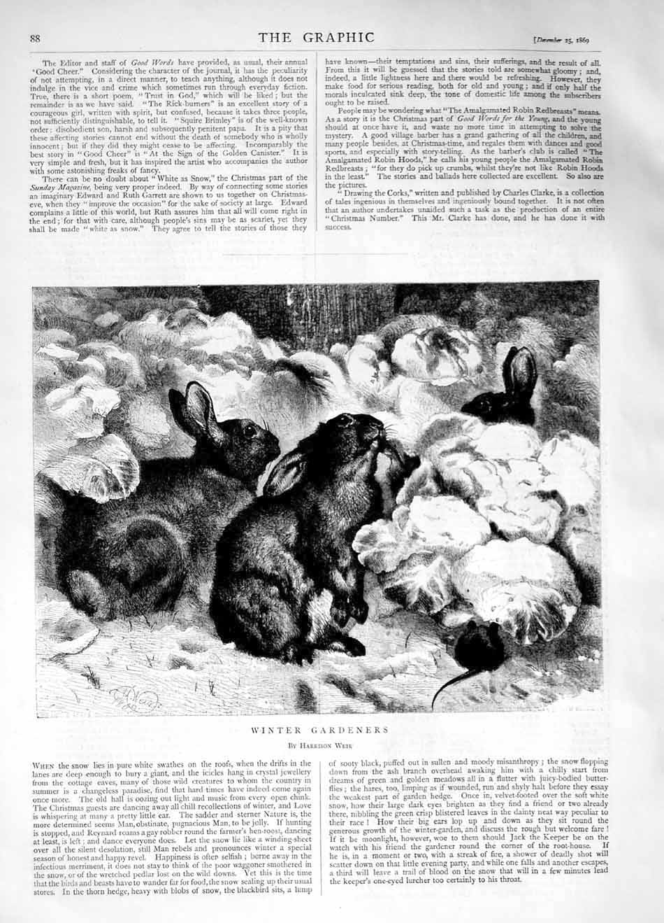 [Print 1870 Winter Gardeners Hares Mice Animals 088M101 Old Original]