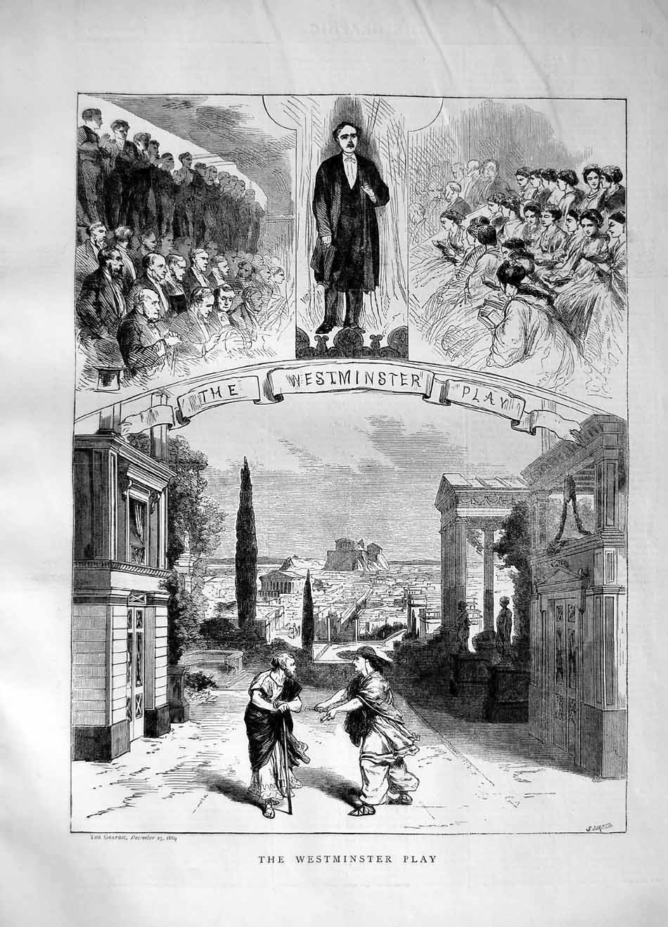[Print 1869 Westminster Play London Theatre 089M101 Old Original]