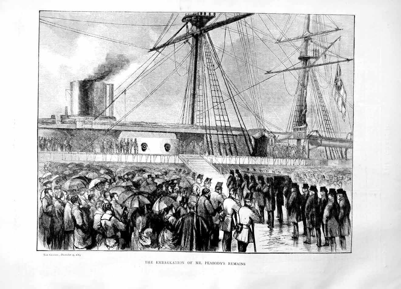 [Print 1869 Embarkation Mr Peabody'S Remains Ship Coffin 092M101 Old Original]
