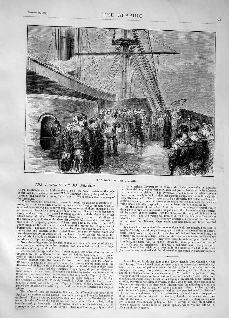 [Print 1870 Funeral Mr Peabody Deck Ship Monarch 093M101 Old Original]