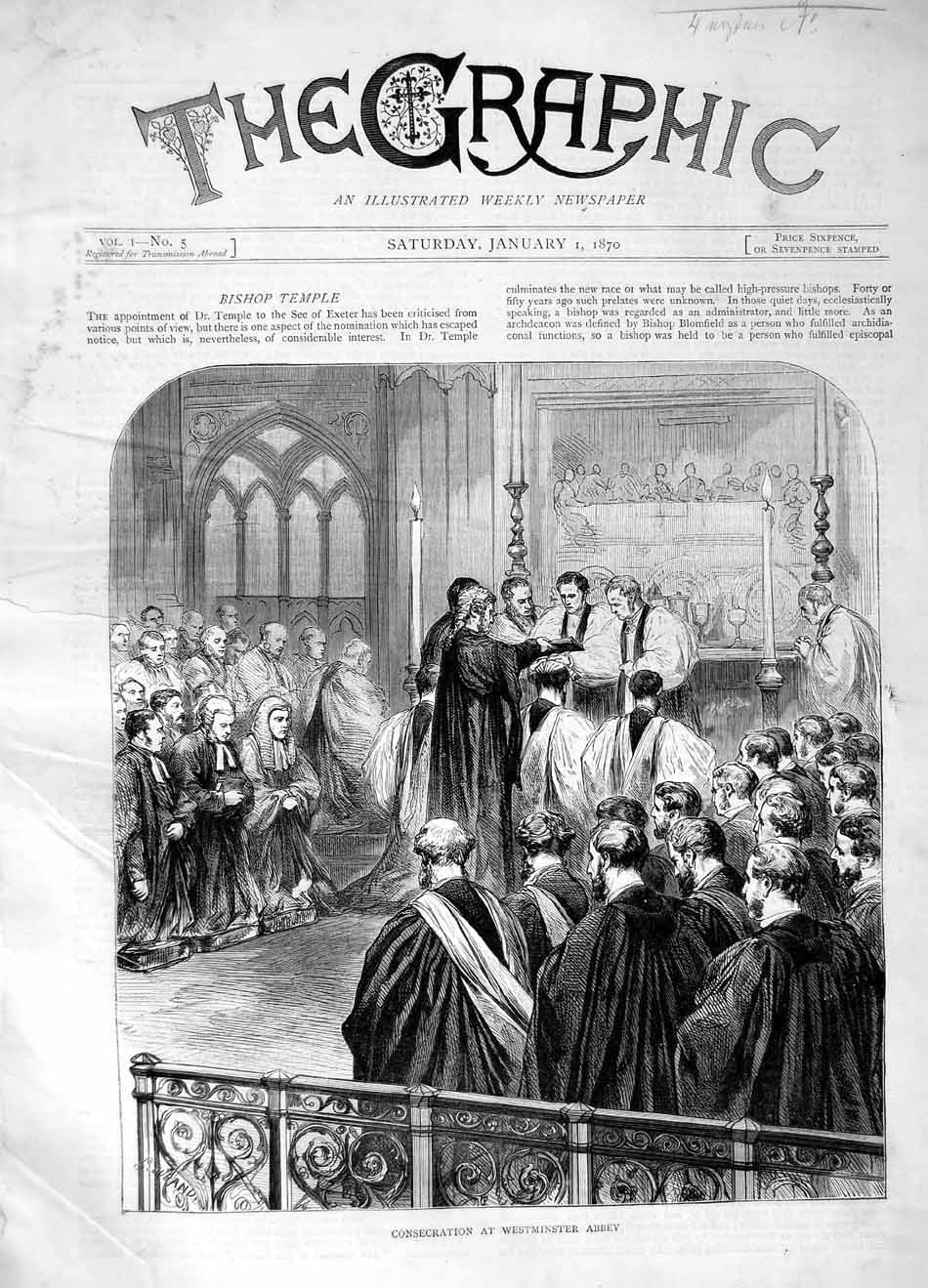 [Print 1870 Consecration Westminster Abbey London 097M101 Old Original]