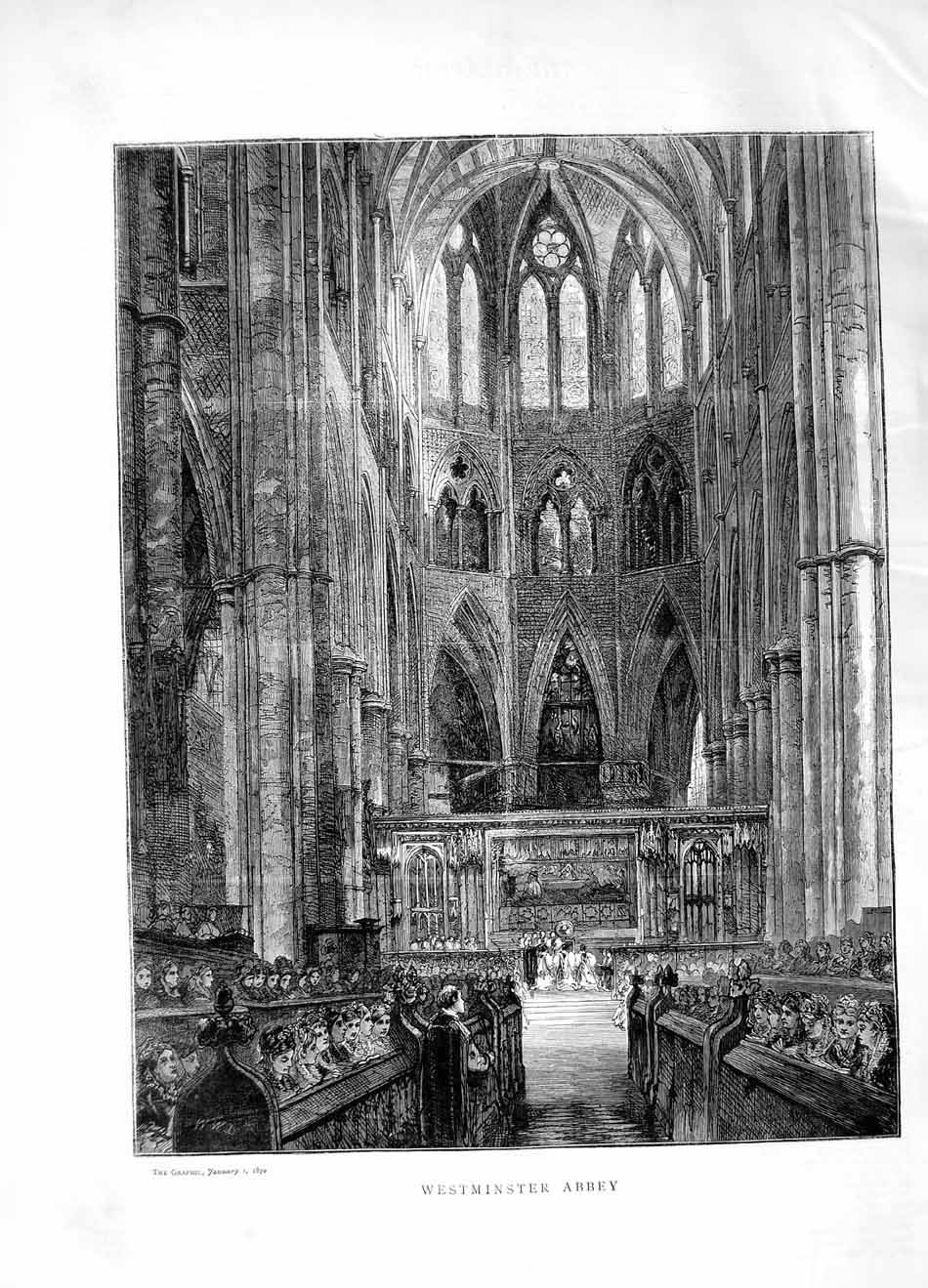 [Print 1870 Architecture Westminster Abbey London 100M101 Old Original]