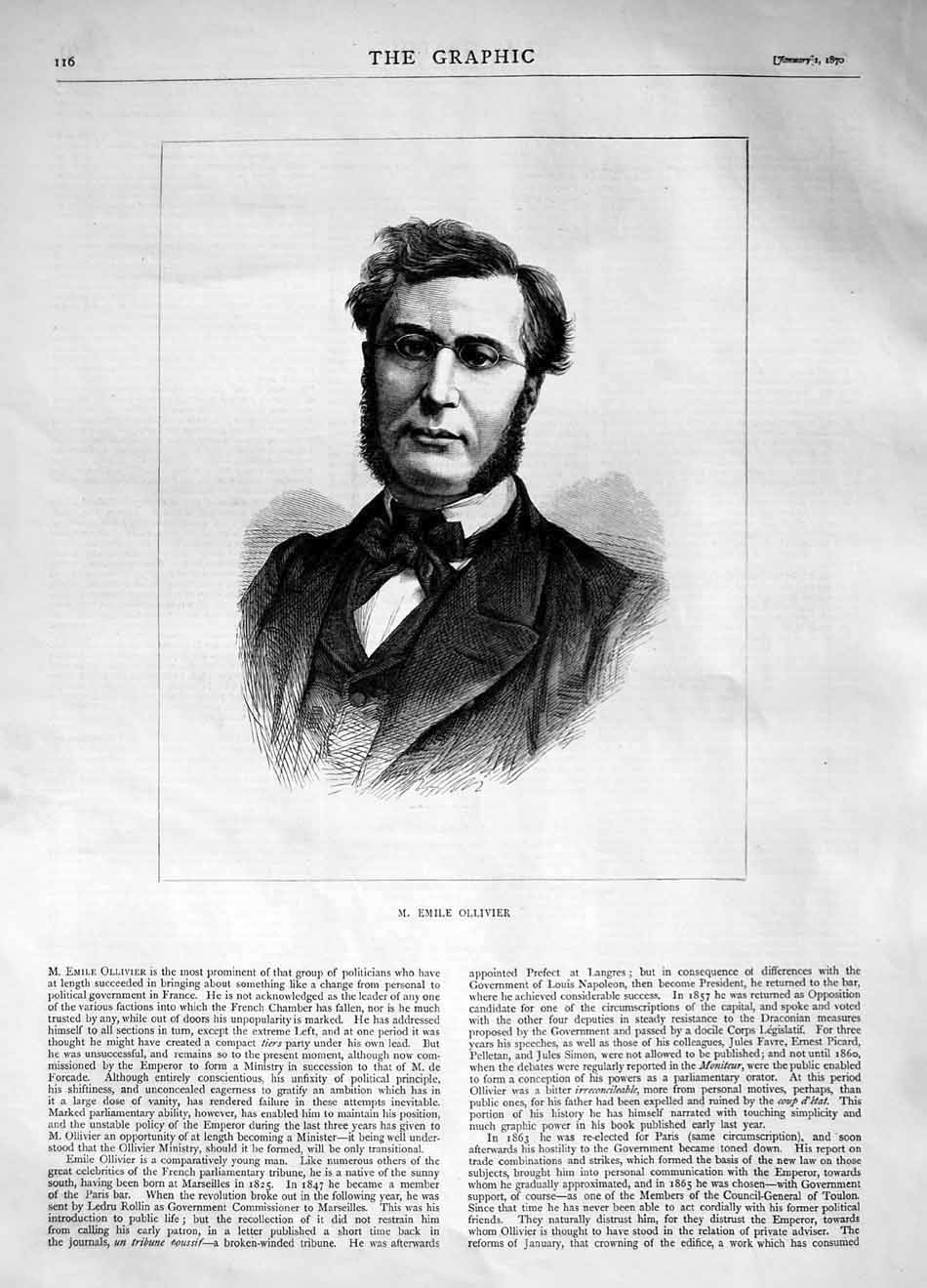 [Print 1870 Portrait Emile Ollivier Politician Man 116M101 Old Original]