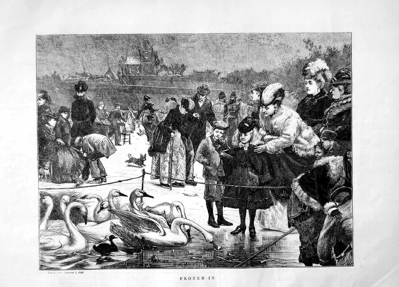 [Print 1870 Winter Frozen Lake Swans Children Dogs 124M101 Old Original]