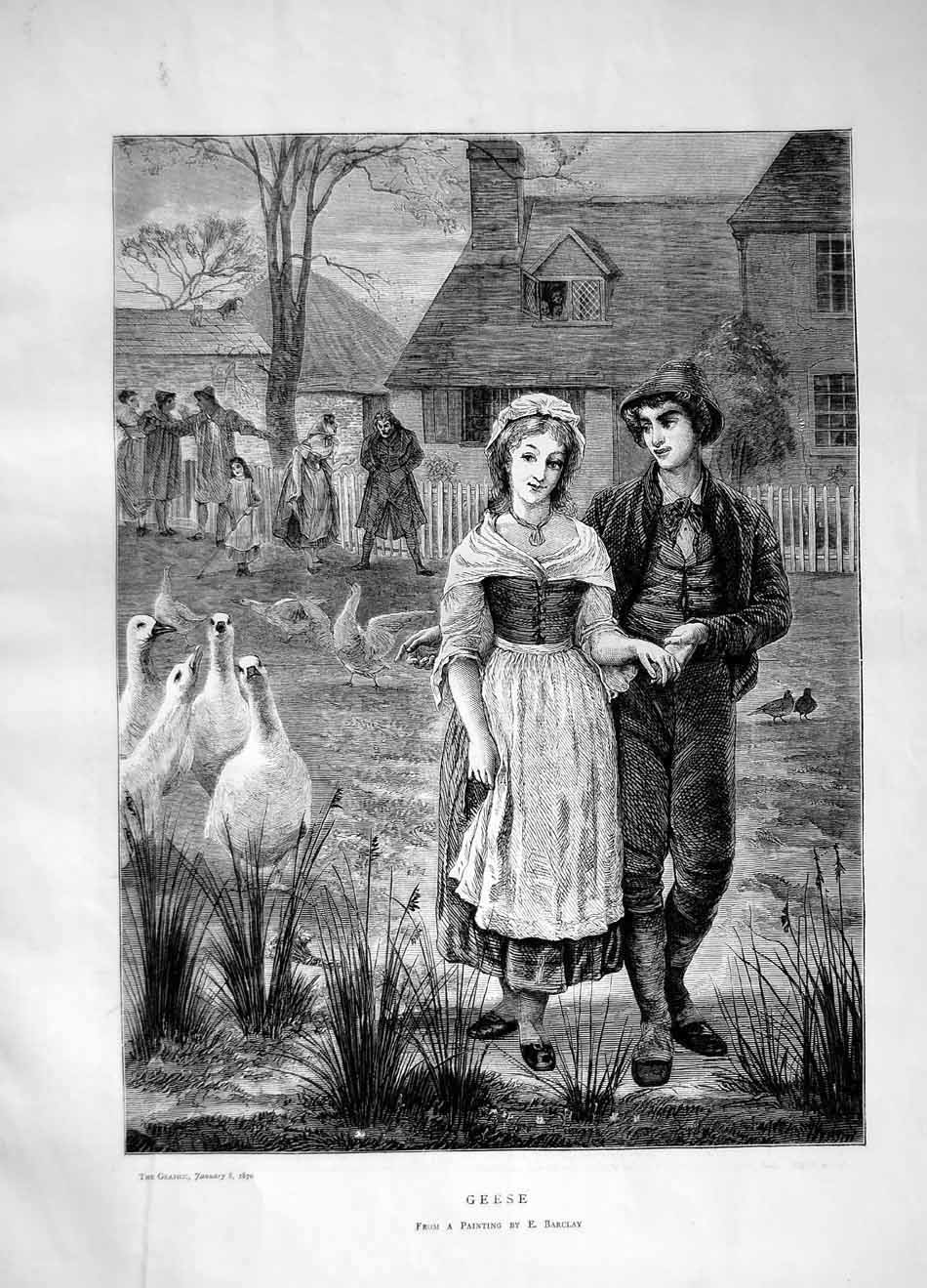 [Print 1870 Geese Man Woman Romance Barclay 133M101 Old Original]