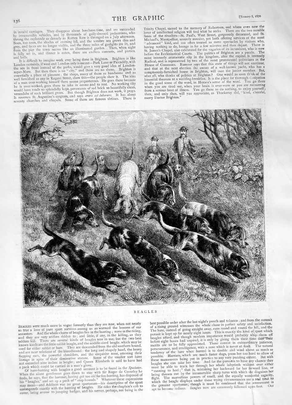 [Print 1870 Beagles Dogs Hunting Sport Country  Old Original]
