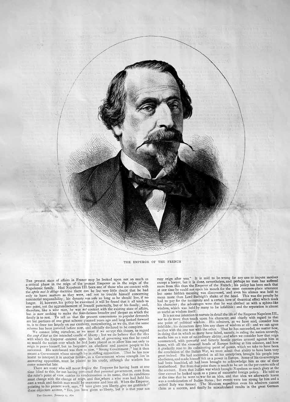 [Print 1870 Portrait Emperor French Man 153M101 Old Original]