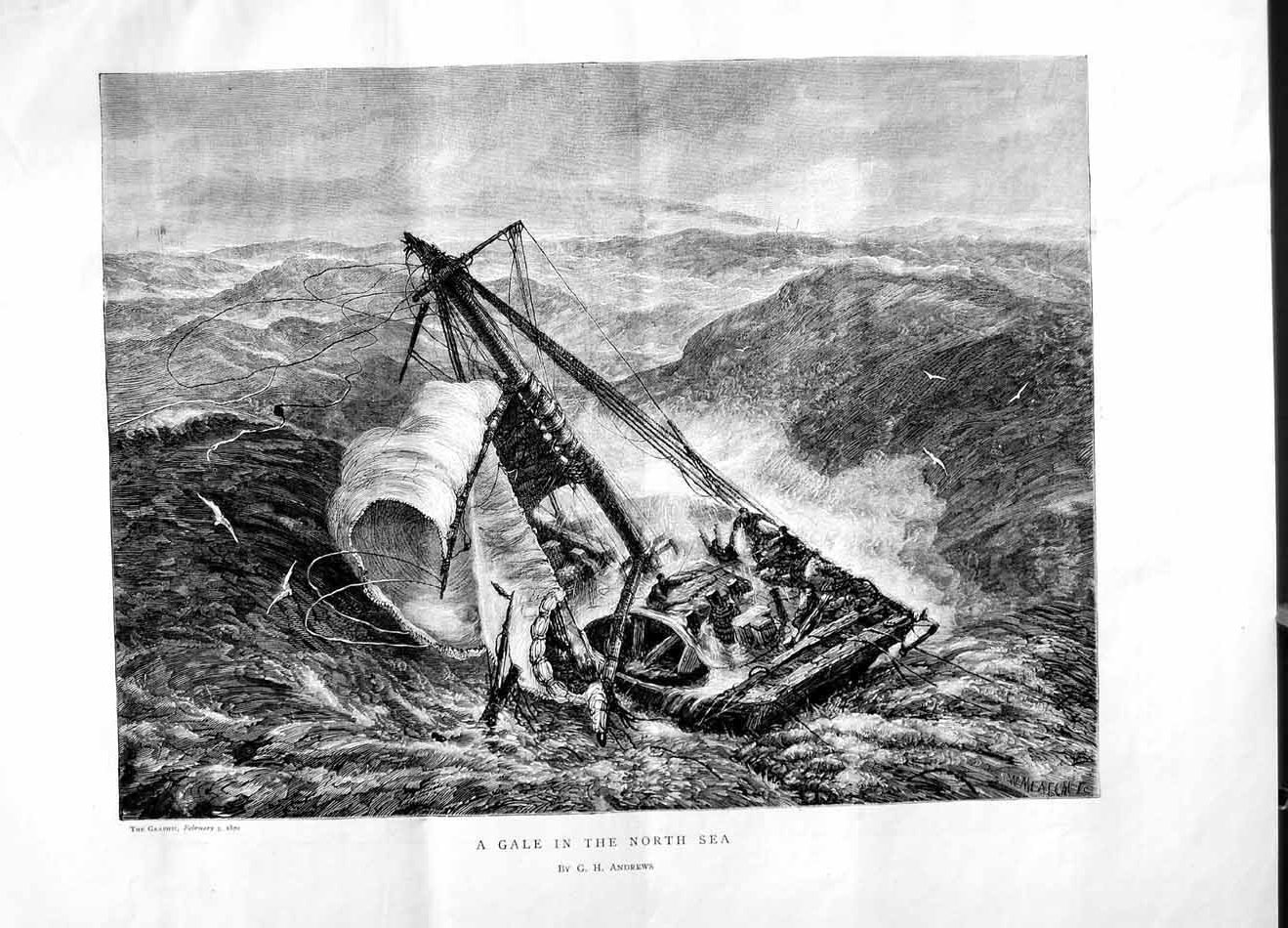 [Print 1870 Stormy Sea Gale North Ship Wreck Andrews 229M101 Old Original]