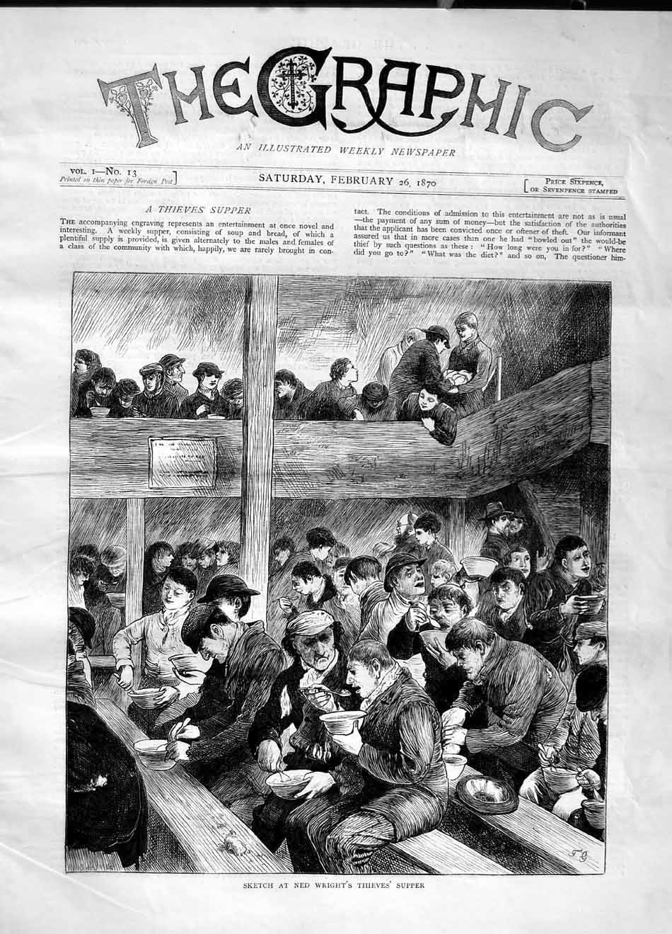 [Print 1870 Sketch Ned Wright Thieves Supper Dinner Food 289M101 Old Original]