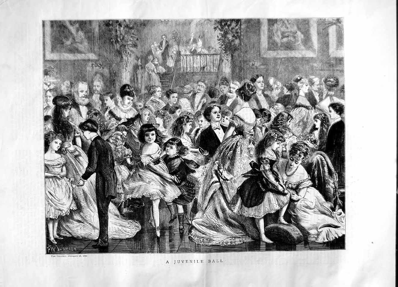 [Print 1870 Juvenile Ball Children Dancing Party 300M101 Old Original]