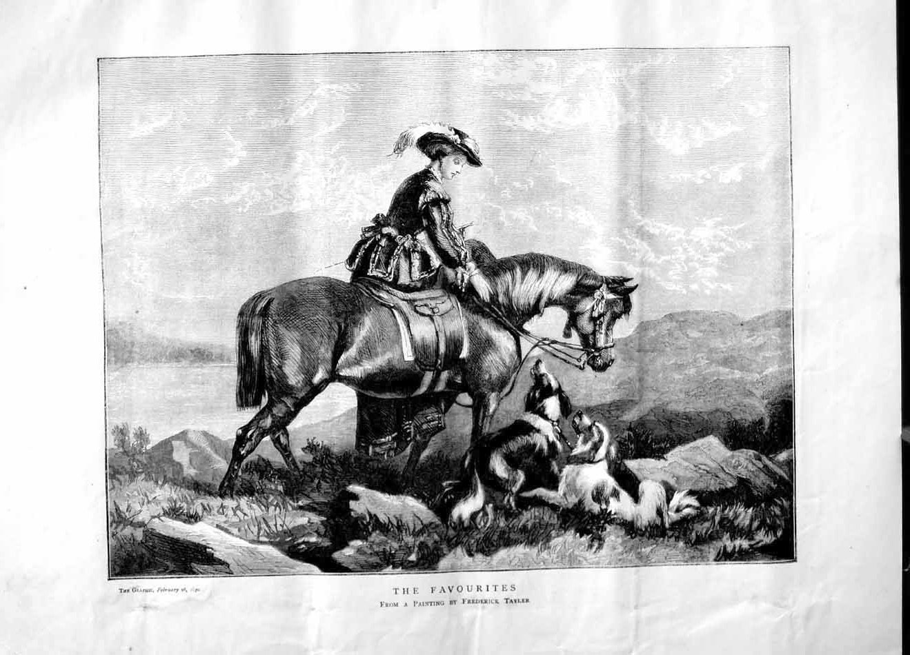 [Print 1870 Woman Horse Dogs Hunting Sport Mountains  Old Original]