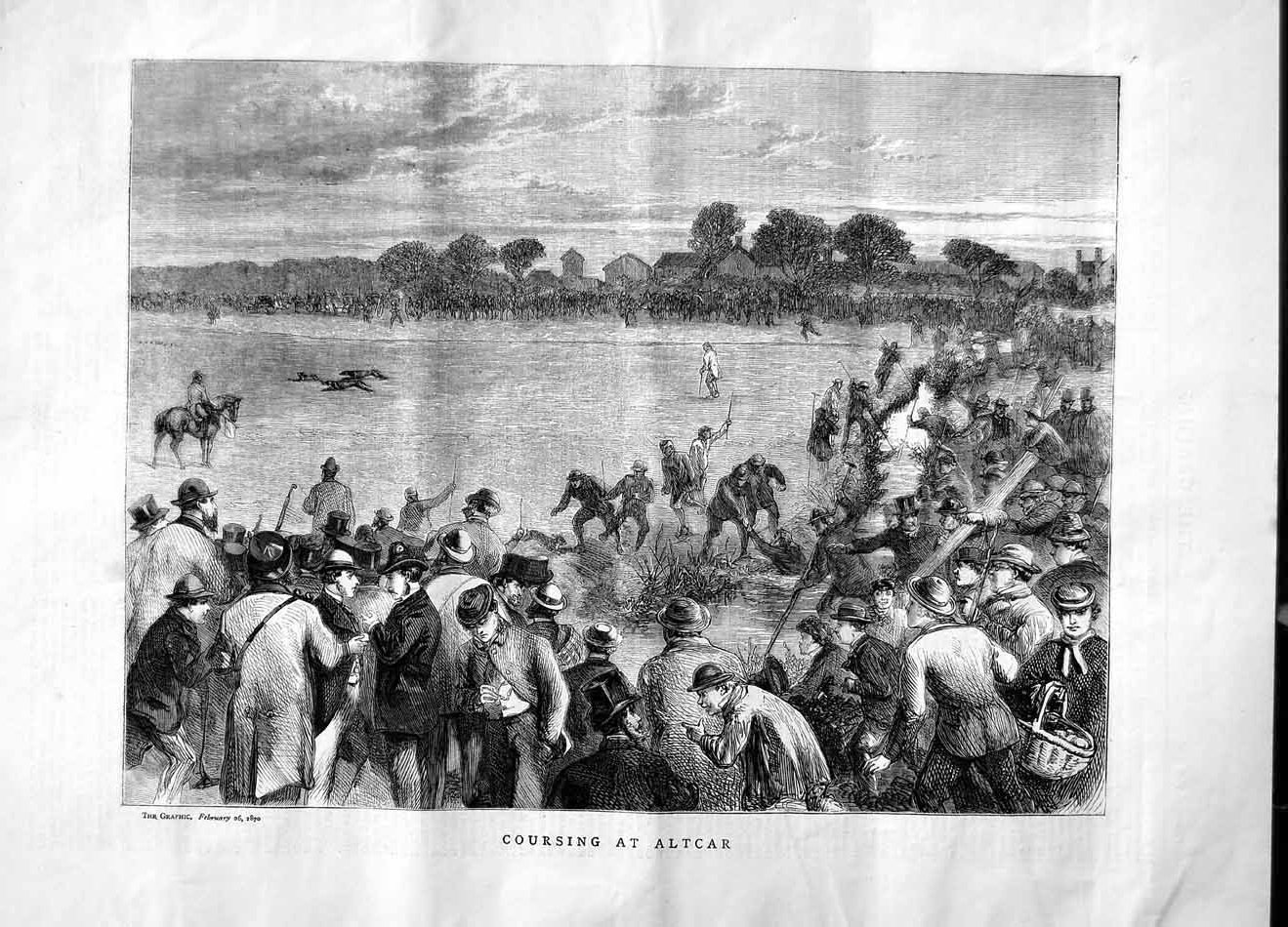 [Print 1870 Hare Coursing Altcar Hunting Sport Men Horses Dogs 308M101 Old Original]