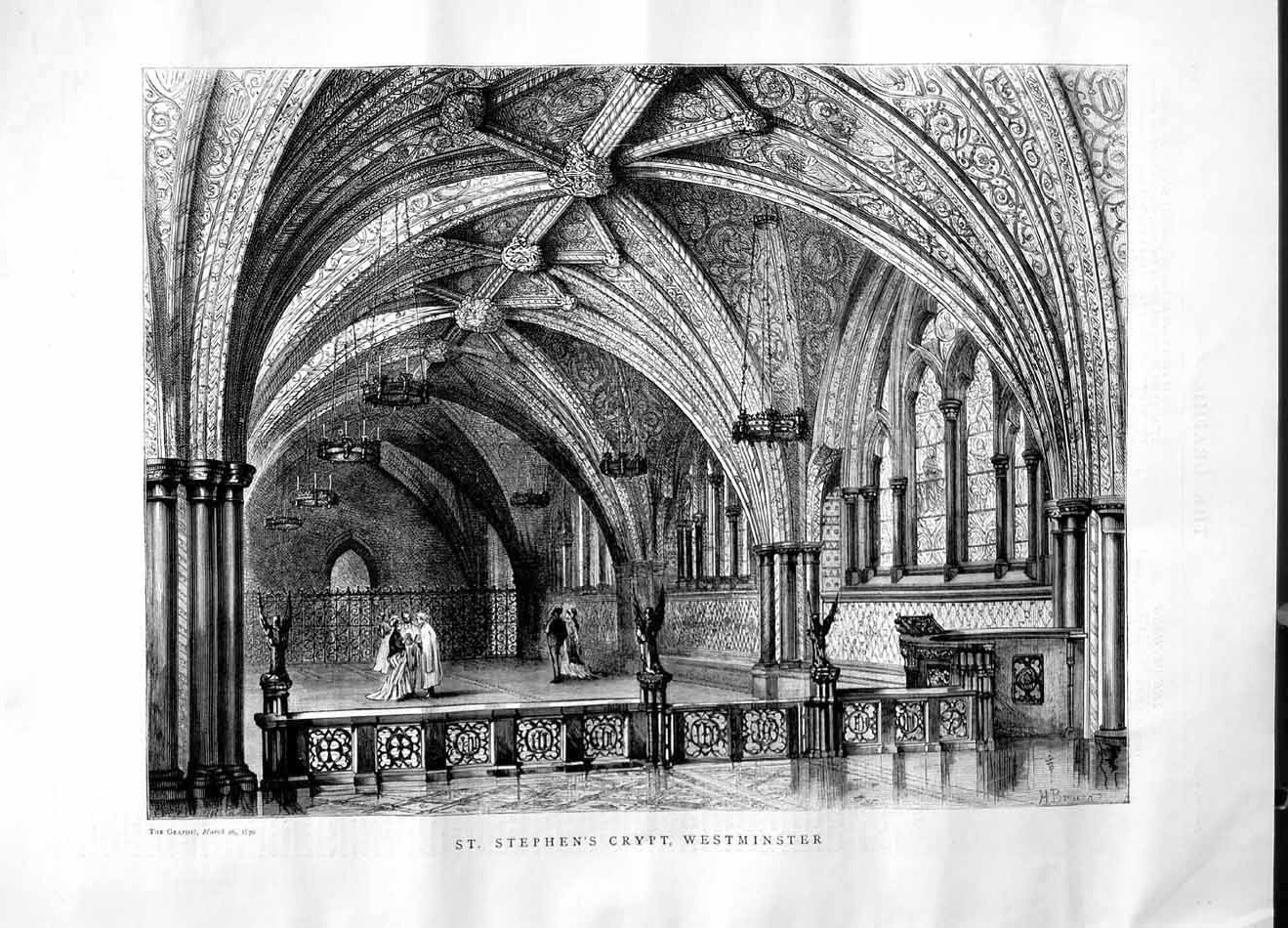 [Print 1870 Architecture St. Stephen'S Crypt Westminster 400M101 Old Original]
