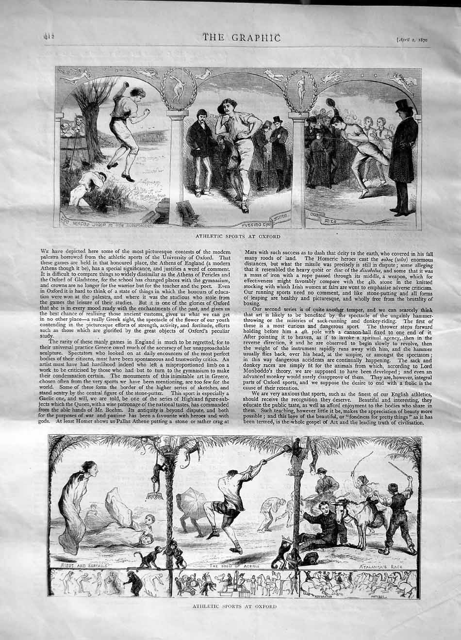 [Print 1870 Athletic Sports Oxford Water Jump Doom Acrisus 412M101 Old Original]