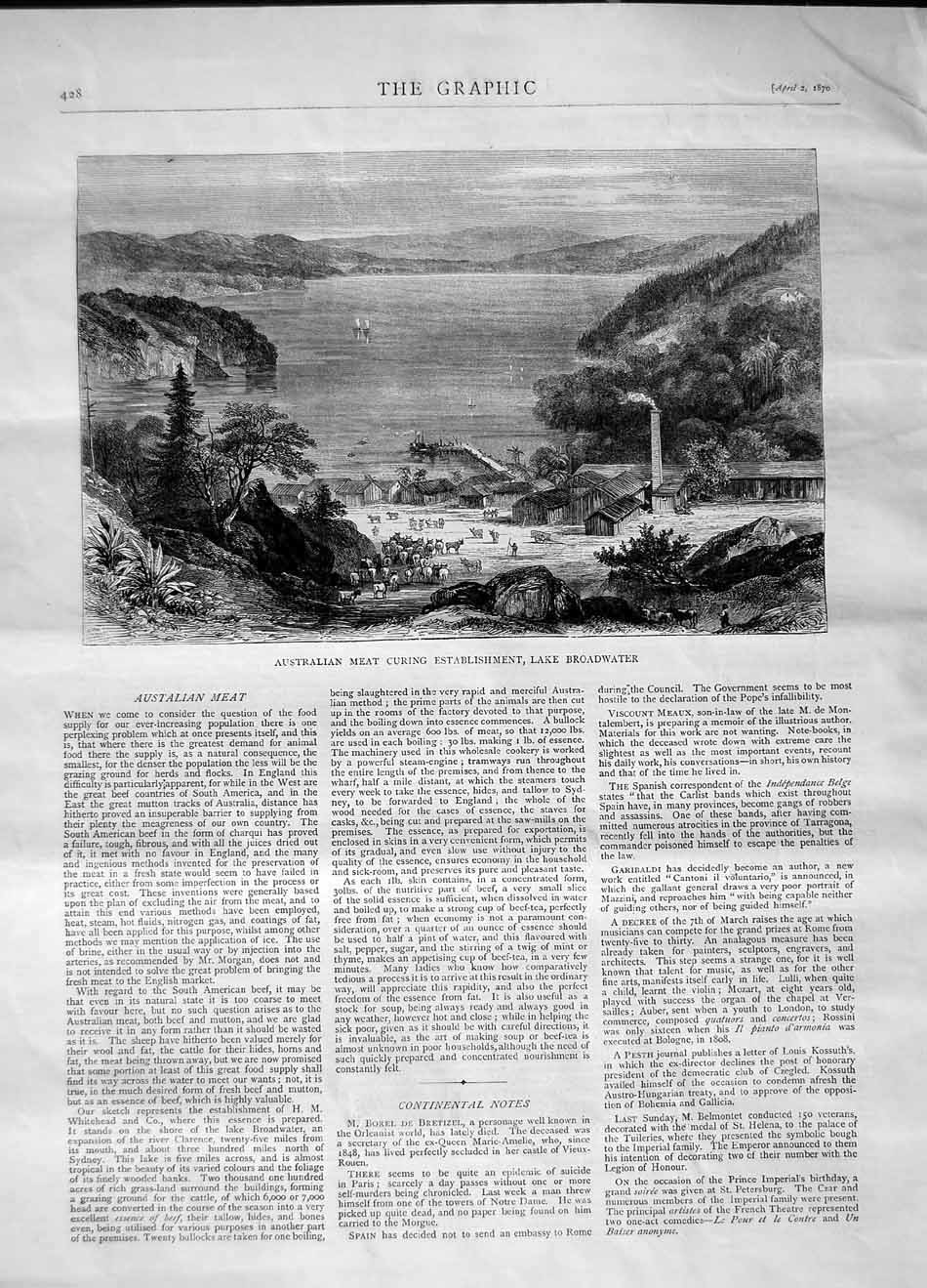 [Print 1870 Australia Meat Curing Industry Broadwater 428M101 Old Original]