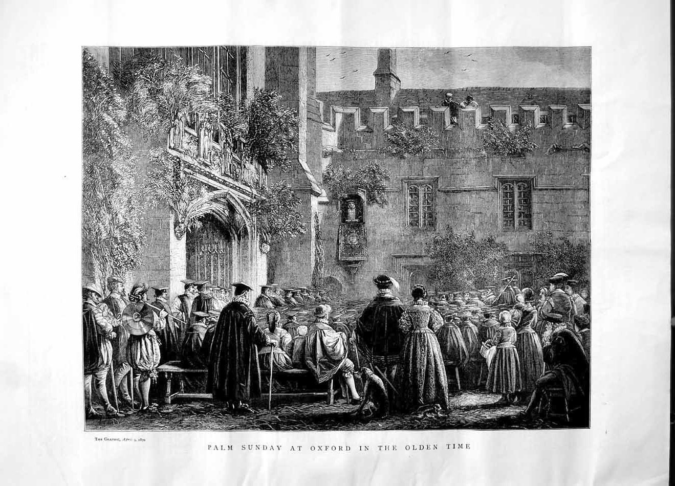 [Print 1870 Palm Sunday Oxford England Church Architecture 440M101 Old Original]
