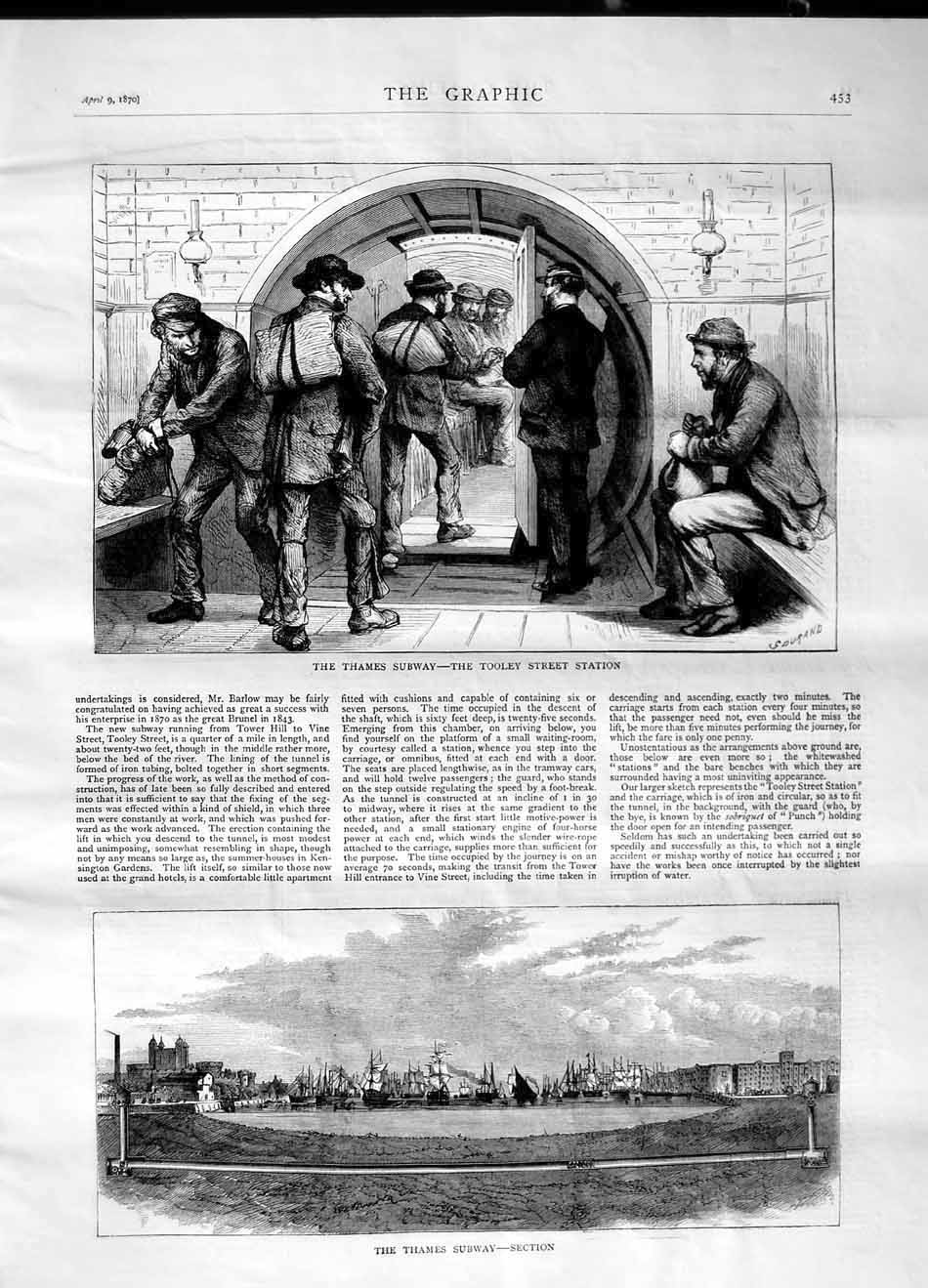 [Print 1870 Thames Subway Tooley Street Station Railway Ships 453M101 Old Original]
