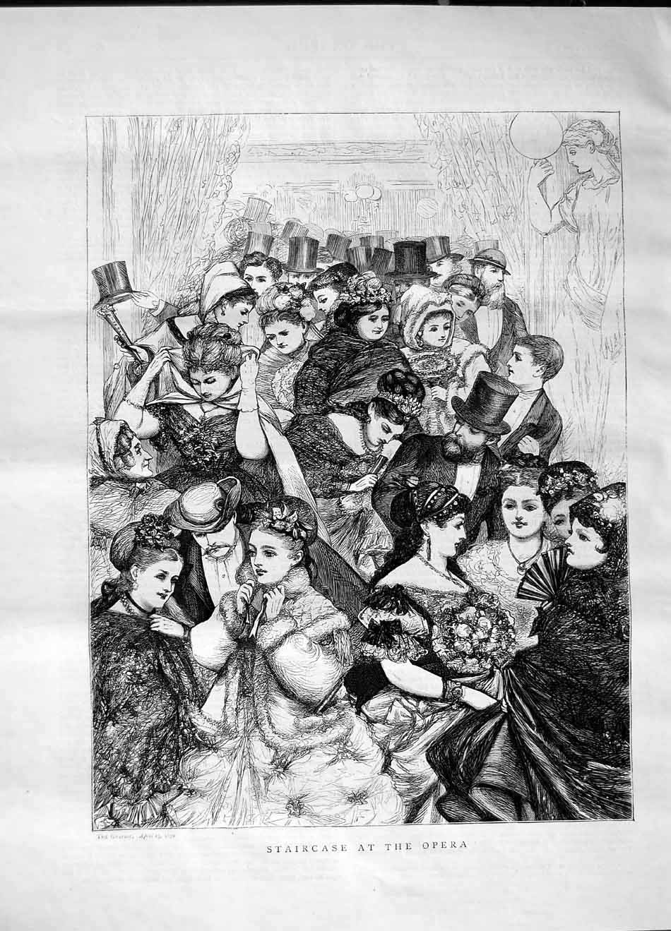 [Print 1870 Staircase Opera Men Women Theatre Flowers 492M101 Old Original]