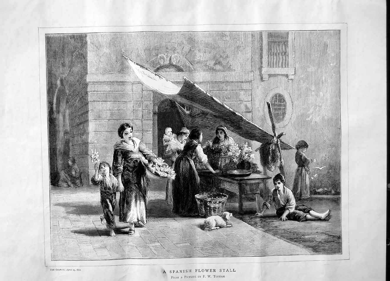 [Print 1870 Spanish Flower Stall Street Selling Dog Children 493M101 Old Original]