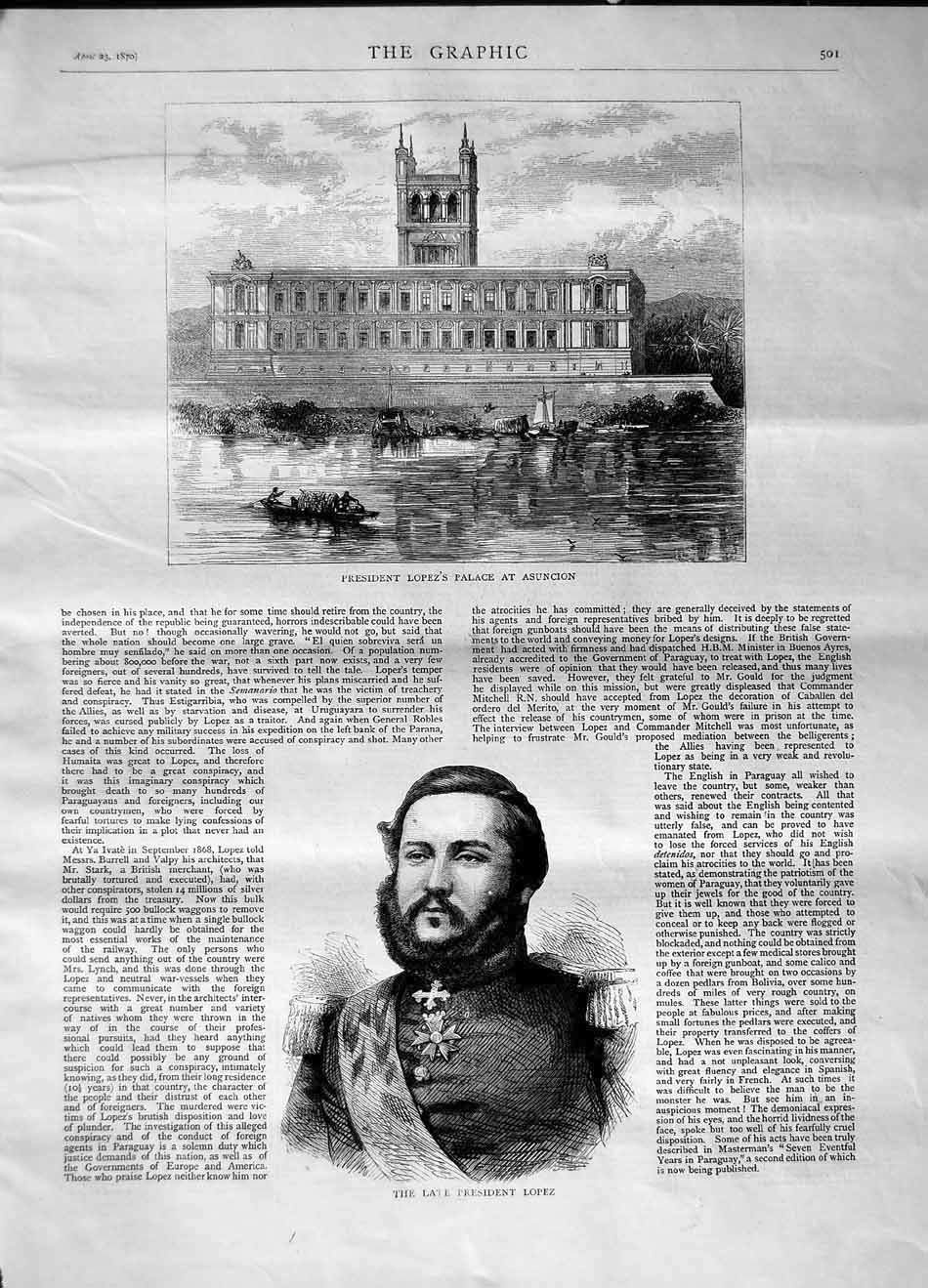 [Print 1870 President Lopez Palace Asuncion Portrait 501M101 Old Original]